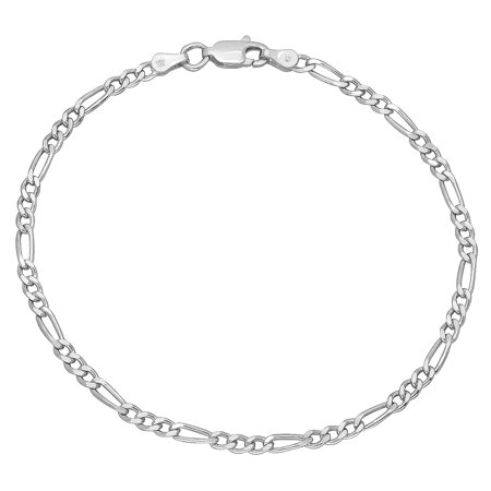 Real 925 Sterling Silver Nickel-Free Small 3mm Italian Figaro Chain Bracelet, 9 inches ()