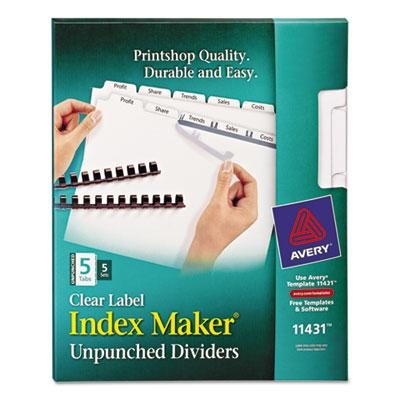 Avery Index Maker Print & Apply Clear Label Unpunched Dividers for Binding Systems by