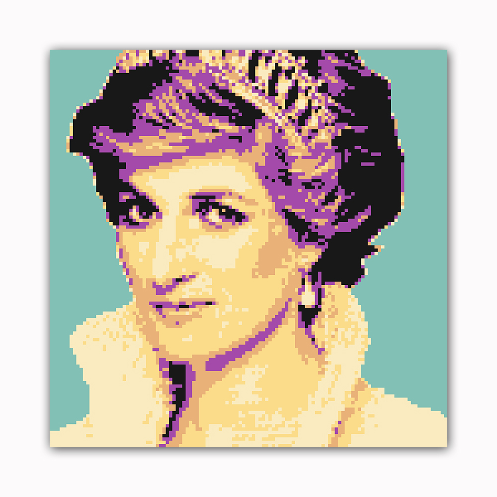 Princess 8 Bit Modern Printed on Canvas Stretched Framed Ready to Hang