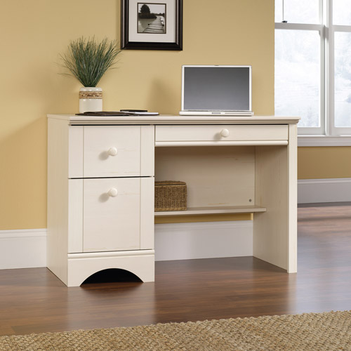 Sauder Harbor View Computer Desk, Antiqued White Finish