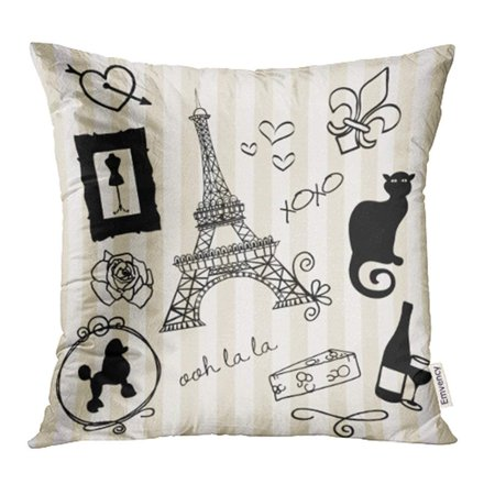 USART Black Poodle Paris Doodles French Chat Ooh Noir XOXO Girly Cat Pillowcase Cushion Cover 18x18 inch (Poodle Doodle)
