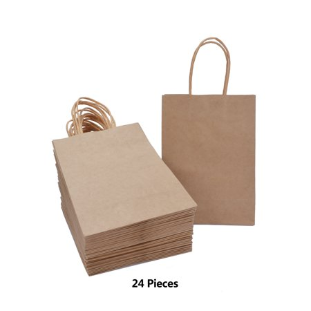 Laribbons 24pcs Brown Kraft Bags With Handles Wedding