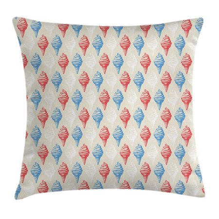Vintage Throw Pillow Cushion Cover, Dessert Theme Decorations for Kitchen Illustration of Ice Cream Print, Decorative Square Accent Pillow Case, 18 X 18 Inches, Egg Shell Red and Blue, by Ambesonne - Ice Cream Themed Decorations
