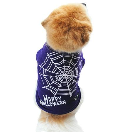 Mosunx Halloween Dog Purple Clothing Cotton T shirt Puppy Costume