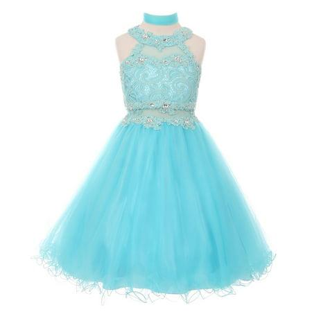 Girls Aqua Rhinestone Halter Neck Lace Tulle Junior Bridesmaid (Aqua Print Dress)