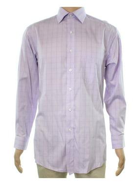 NEW LavenderPurple Mens Size 14 1/2 Plaid Cotton Dress Shirt
