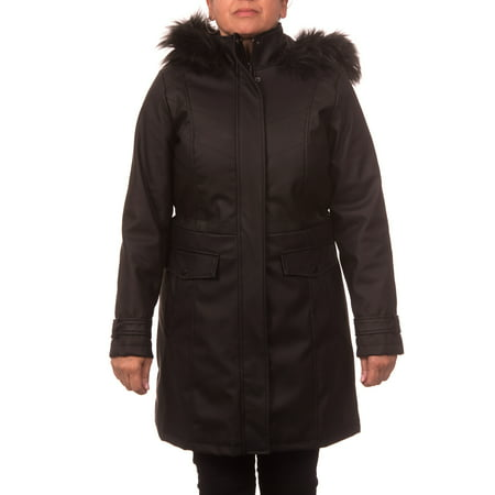 Button Trim Leather Jacket (Women's Faux Leather Anorak Coat with Detachable Fake Fur Trimmed)