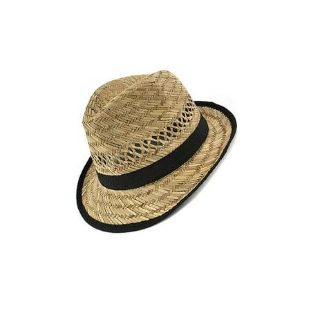 - Black Banded Raffia Fashion Fedora Straw Hat w/ Trim -