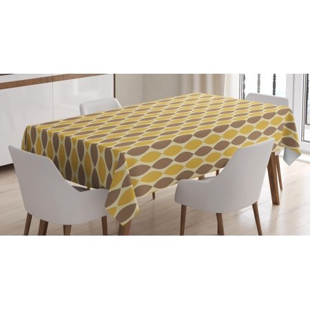 Vintage Tablecloth, Vertically Aligned Oval Shapes with Pointy Ends in Retro Colors, Rectangular Table Cover for Dining Room Kitchen, 52 X 70 Inches, Cocoa Eggshell and Mustard, by Ambesonne ()