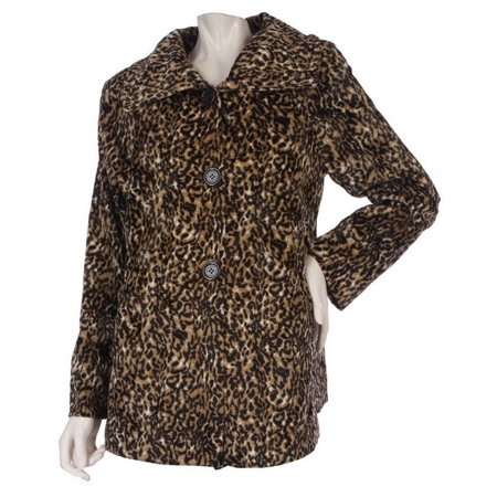 Dennis Basso Animal Printed Faux Fur Coat Spread Collar -