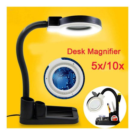 Magnifying Crafts Glass Desk Lamp 5X 10X Magnifier With 40 LED Lights Practical