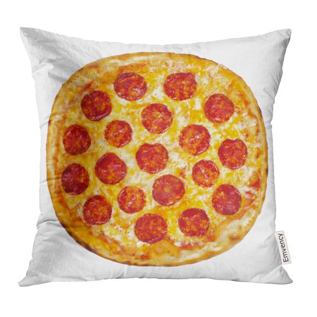 CMFUN Red Top Thinly Sliced Pepperoni is Popular Pizza Topping in American Style Pizzerias Yellow Cheese Pillow Case 20x20 Inches Pillowcase