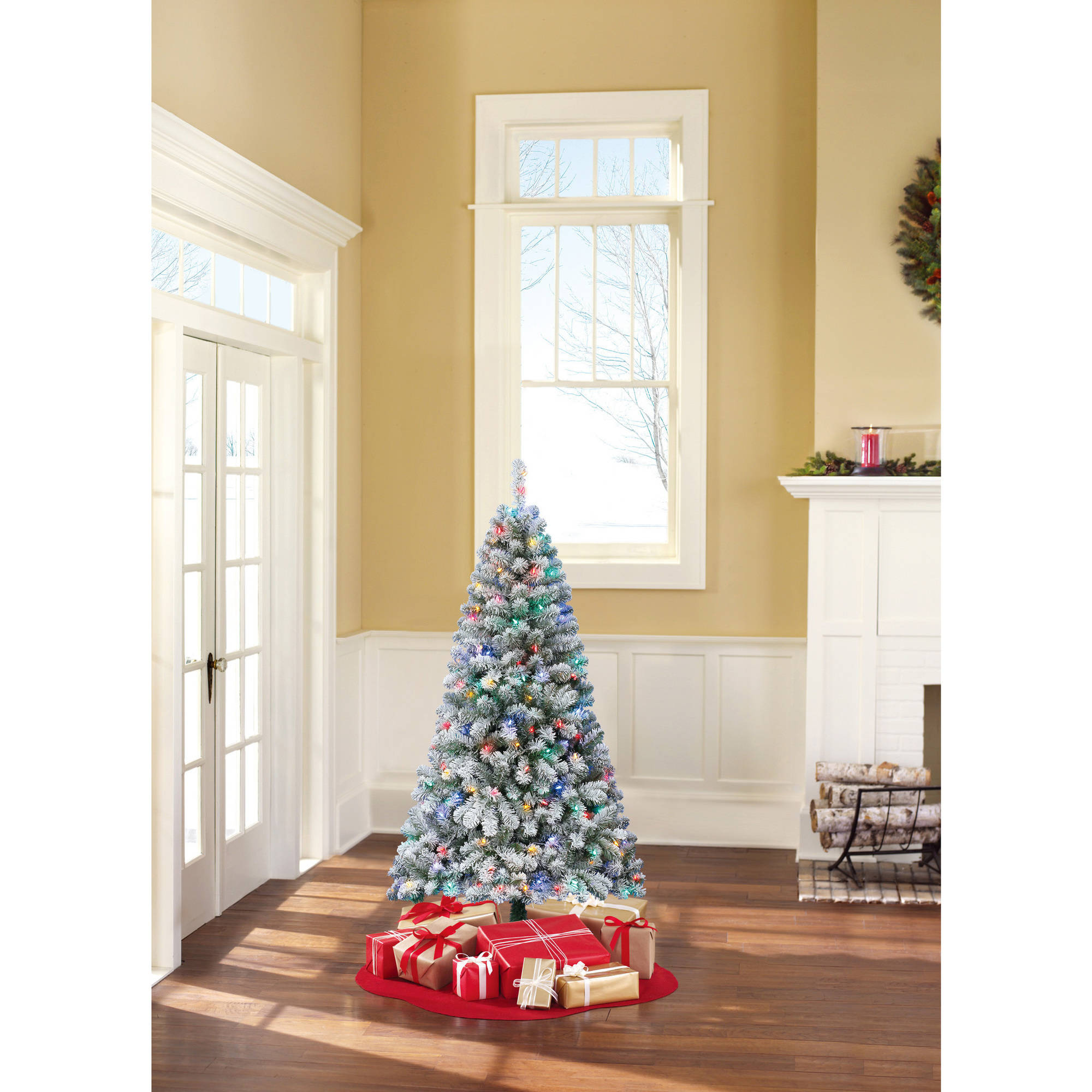 Holiday Time Pre-Lit 6' Alpine Fir Artificial Christmas Tree, Color Changing  Lights