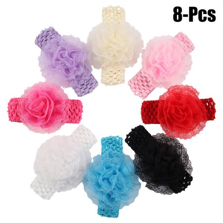 8PCS Baby Girls Hair Band Solid Color Lace Flower Baby Headband Infant Headwrap Hair Accessories for Baby Girl Toddler - Flowergirl Accessories