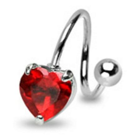 Navel Twist (Belly Button Ring Navel Spiral Heart Body Jewelry Dangle 14 Gauge Twist )