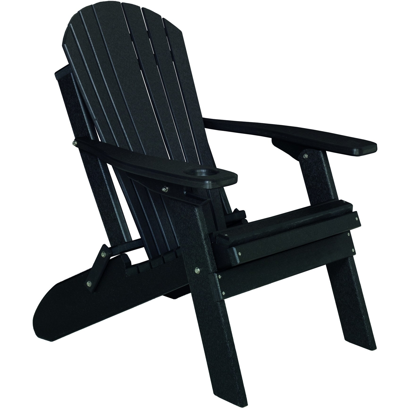 Deluxe Premium Poly Lumber Folding Adirondack Chair w/ Cup Holder