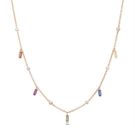 Dangle Multi Chain Necklace - Lesa Michele Women's Multicolored Cubic Zirconia Baguette Shaped Dangle 16