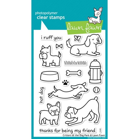 Clear Stamp - Critters At The Dog Park (LF515), Approximate Stamp Sizes: Dachshund: 2-3/8 W x 1 H, Boxer: 2 W x 1-1/2 H, French Bulldog: 1-1/4 W x 1-3/8 H, Thanks For.., By Lawn (Bulldog Fawn)