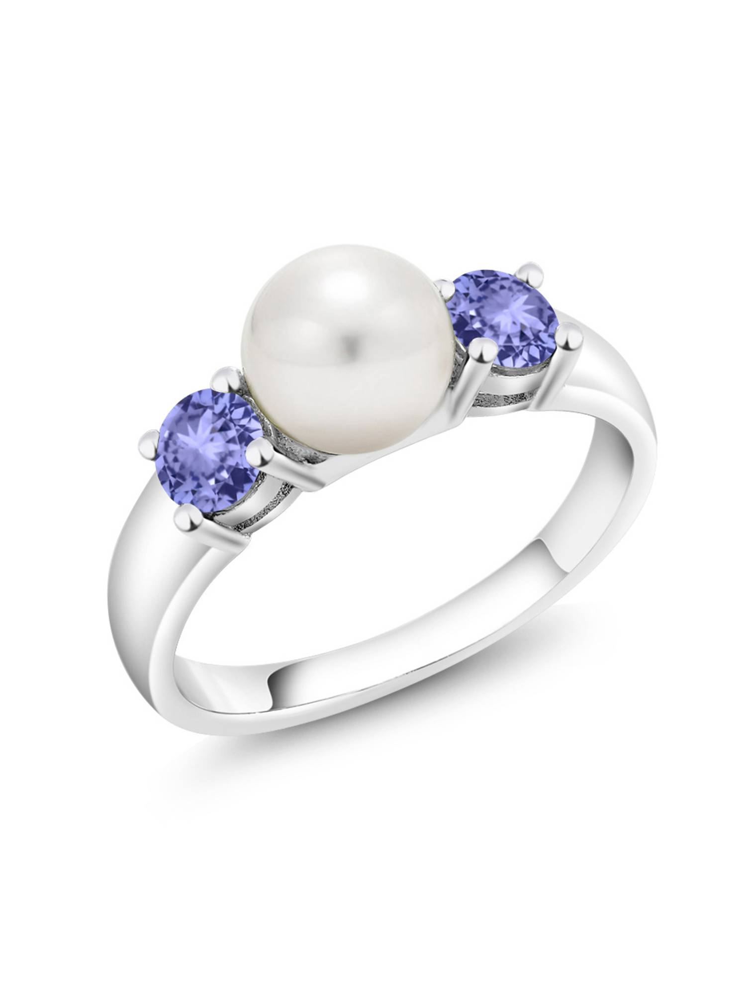 0.76 Ct Round Blue Tanzanite 925 Sterling Silver Freshwater Pearl Ring