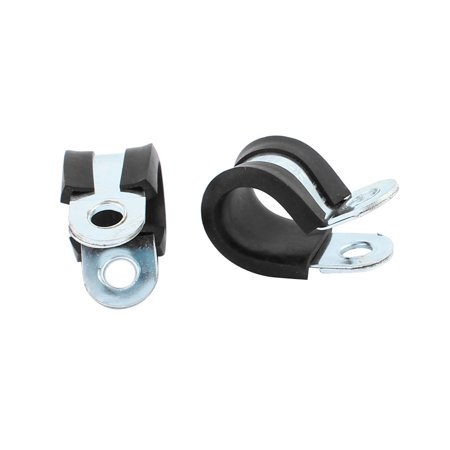 2Pcs 14mm Dia EPDM Rubber Lined R Shaped Zinc Plated Pipe Clips Hose Tube Clamp