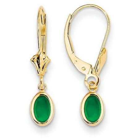 (14k Yellow Gold 6x4 Oval Bezel May/Emerald Leverback Earrings)