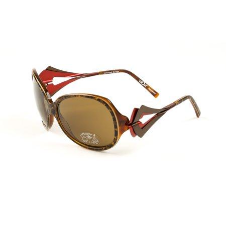 BOZ Women's Oxford Semi-Oval Sunglasses 59mm Panther/Brown Semi Oval Sunglasses