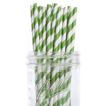 Green Striped Paper Straws (Dress My Cupcake Vintage Paper Straws, Pack of 100, Forest Green)