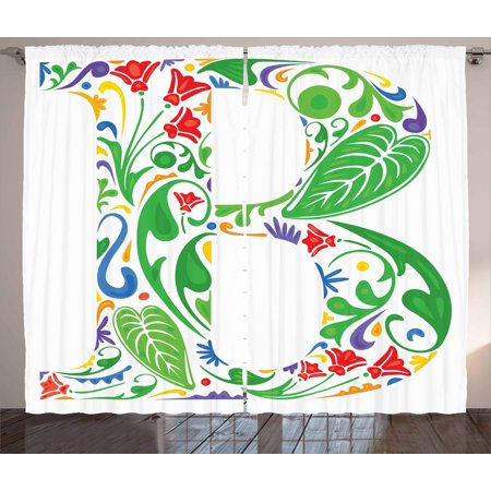 Letter B Curtains 2 Panels Set  Capital With Spring Herbs Flowers Petals Leaves Nature Harvest Swirls Vivid Image  Window Drapes For Living Room Bedroom  108W X 90L Inches  Multicolor  By Ambesonne