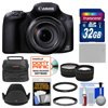 Canon PowerShot SX60 HS Wi-Fi Digital Camera with 32GB Card + Case + Battery + Hood + Tele/Wide Lens Kit Canon PowerShot SX60 HS Wi-Fi Digital Camera <br>Zoom like never before. <br><br>Craters on the moon, wildlife from afar, your childs face on a crowded school stage... the <b>Canon PowerShot SX60 HS Wi-Fi Digital Camera</b> gives you the reach to capture it all. The cameras astonishing <b>65x Optical Zoom</b> (21mm-1365mm) Wide-Angle Lens with <b>Optical Image Stabilizer</b> combines tremendous flexibility with portable ease. <br><br>Capture close-ups, wide shots and everything in between with beautiful quality thanks to a <b>16.1 Megapixel High-Sensitivity CMOS Sensor</b> and Canons latest <b>DIGIC 6 Image Processor</b> that together create the Canon HS SYSTEM for excellent low-light performance. <br><br>Advanced technology including Zoom Framing Assist and Intelligent IS help you track and capture clear, steady long shots. Shoot realistic <b>1080p Full HD video</b> recorded at 60p. USM and VCM technology help ensure fast, silent zooming and focus during recording, and, in a first for a PowerShot model, you can attach an optional external microphone. And quickly share everything you capture: the PowerShot SX60 HS is <b>Wi-Fi -- and NFC-enabled</b> with an easy Mobile Device Connect button. <br><br><b>Key Features:</b><br> <b>65x Optical Zoom (21-1365mm) Wide-Angle Lens with Optical Image Stabilizer:</b><br> Imagine having the power to capture animals in the wild from a safe distance, shoot architectural details atop a skyscraper, and see the expression on an athletes face from up in the stands -- all from a compact camera with a built-in lens. Lightweight with superb controllability, the 65x Optical Zoom lens on the PowerShot SX60 HS camera is a marvel of optical engineering but its also a Genuine Canon Lens, which means that the images you capture with it will be beautifully natural and true to life -- whether youre shooting at the wide angle or extreme telepho