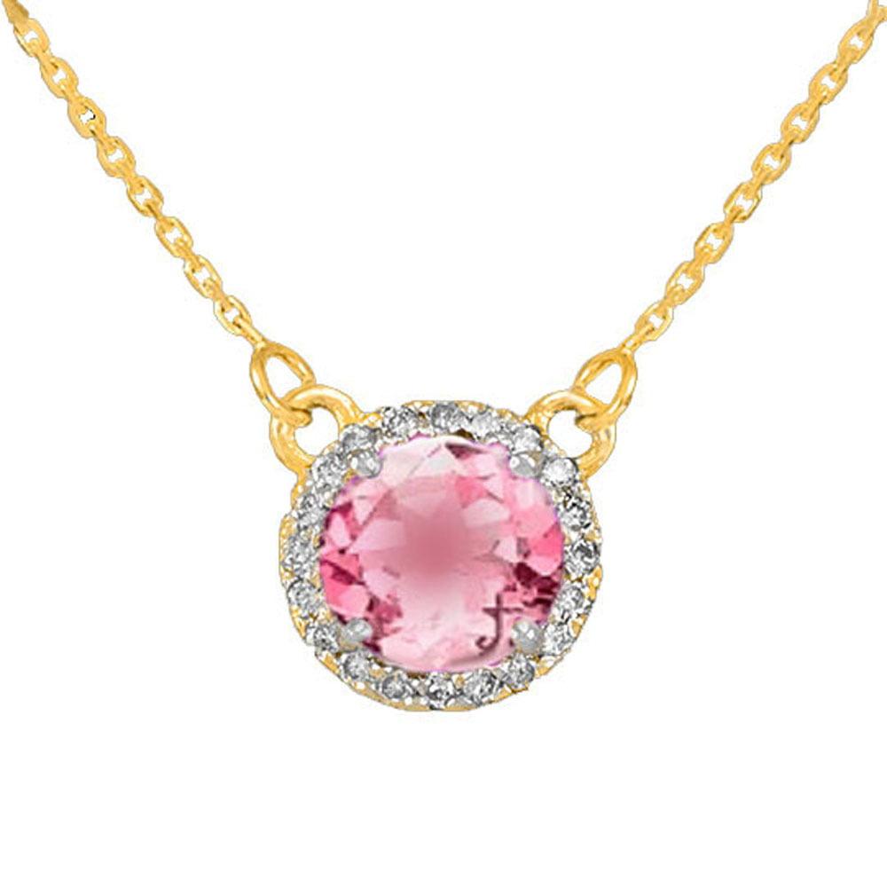14k Gold Diamond Pink Tourmaline Necklace by