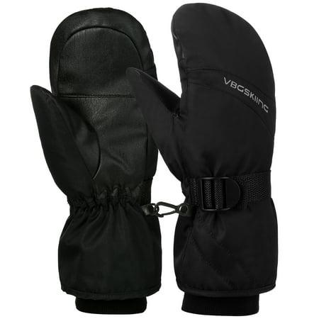 Vbiger Unisex Ski Gloves Thickened Winter Gloves Warm Gloves Splash-proof Sports Mitten Cold Weather Gloves with Adjustable Buckle and Elastic Wrist Strap, Black