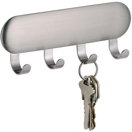 InterDesign Forma Self-Adhesive Key Rack Organizer for Entryway, Kitchen, 4 Hooks, Stainless Steel