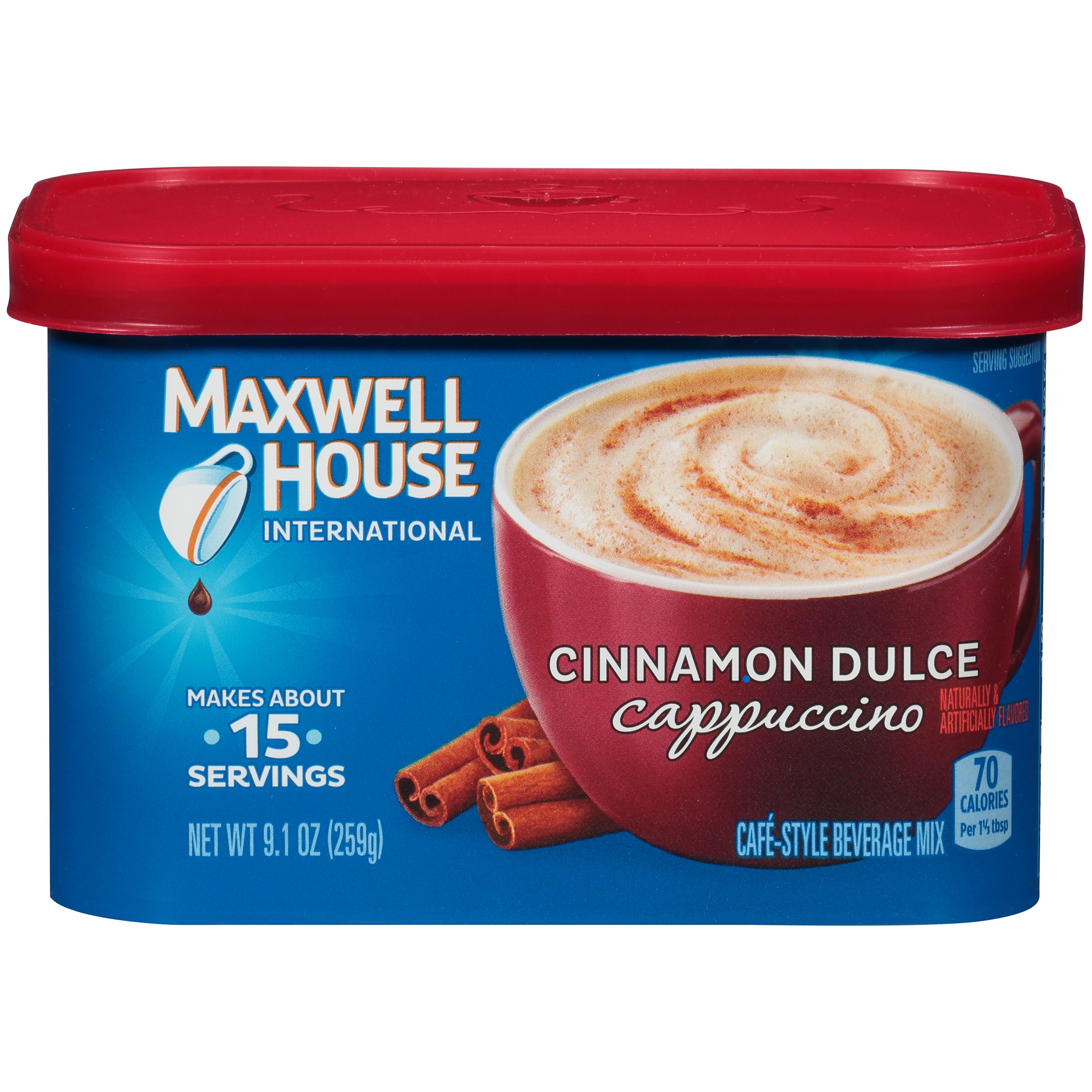 (4 Pack) Maxwell House International Cinnamon Dulce Cappuccino, 9.1 oz Canister