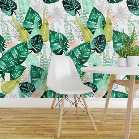 Removable Water Activated Wallpaper Tropical Leaves Palms Watercolor G