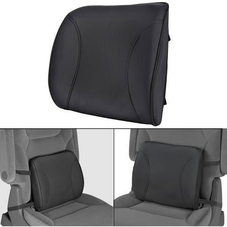 MotorTrend Lumbar Back Support, Portable Orthopedic Lumbar Back Support Memory Foam and PU Leather Seat Cushion Auto Back Support