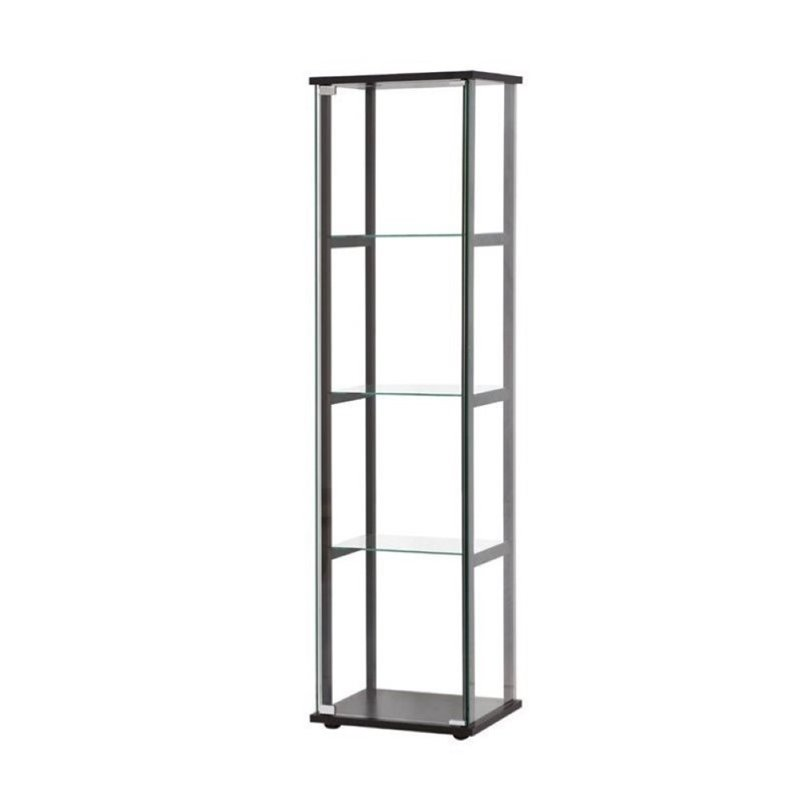 Bowery Hill Contemporary Glass Curio Cabinet in Black by Bowery Hill