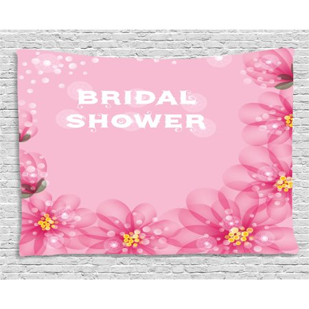 Bridal Shower Decorations Tapestry, Asian Flowers with Abstract Petals and Dots Image, Wall Hanging for Bedroom Living Room Dorm Decor, 80W X 60L Inches, Hot Pink and Light Pink, by - Asian Decorations