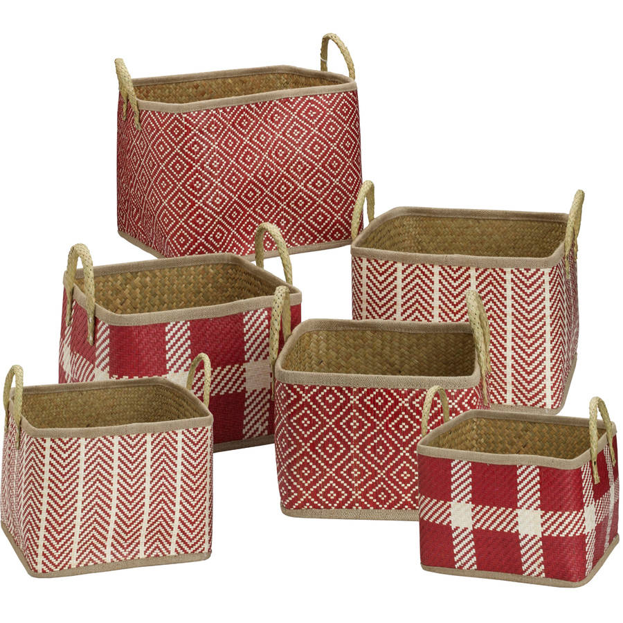 Elements Set of 6 Palm Leaf Red Square Woven Baskets
