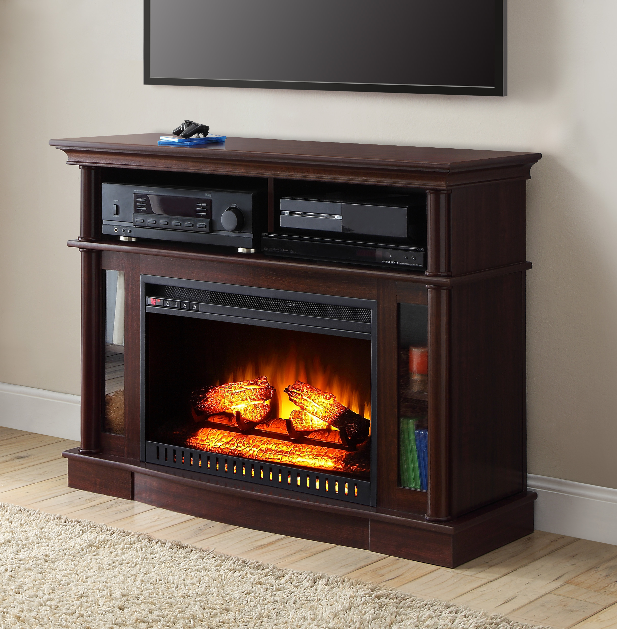 heater floor door glass dvd tv black brown also electric plus fireplace storage laminated on shelf and with cabinet cheap media rack wooden stand placed modern open player