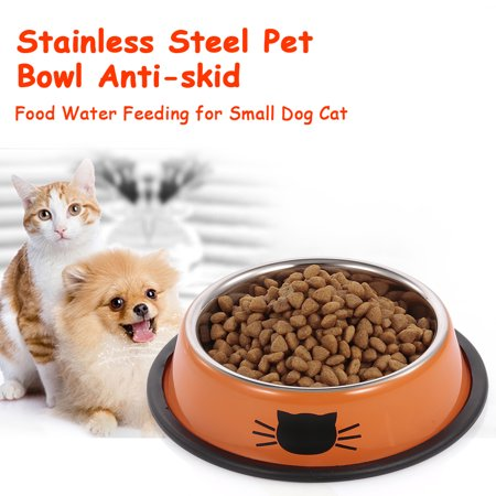 Stainless Steel Pet Bowl Anti-skid Dish Bowl with Cute Cats Painted Food Water Feeding Feeder Bowl for Small Dogs Cats -