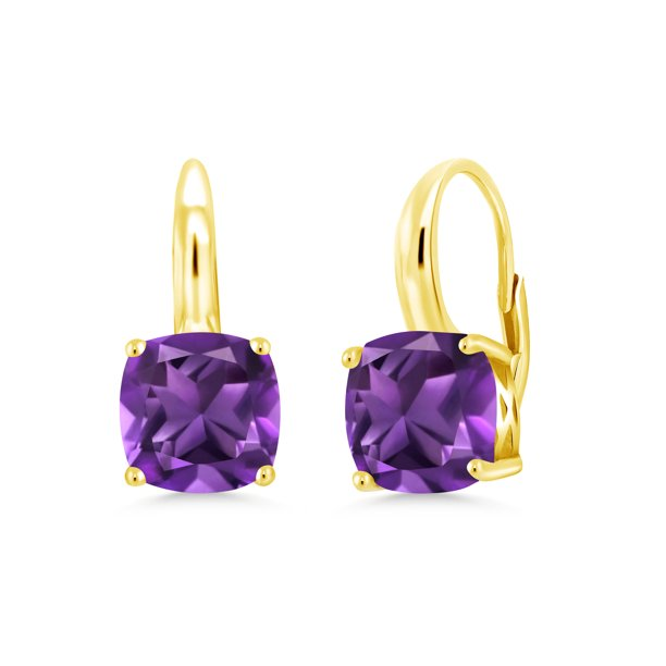 4.20 Ct Cushion Purple Amethyst 18K Yellow Gold Plated Silver Earrings