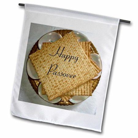 (3dRose Image of Happy Passover on Matzoh and Seder Plate Polyester Garden Flag)