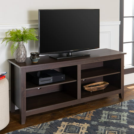 Textured Black 60 Tv Stand (Walker Edison Wood TV Media Storage Stand for TV's up to 64