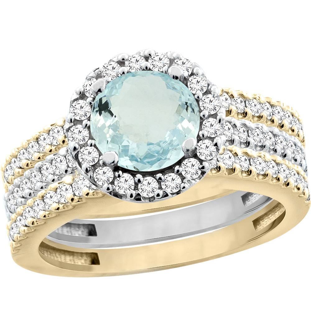 14K Gold Natural Aquamarine 3-Piece Ring Set Two-tone Round 6mm Halo Diamond, size 5.5 by Gabriella Gold