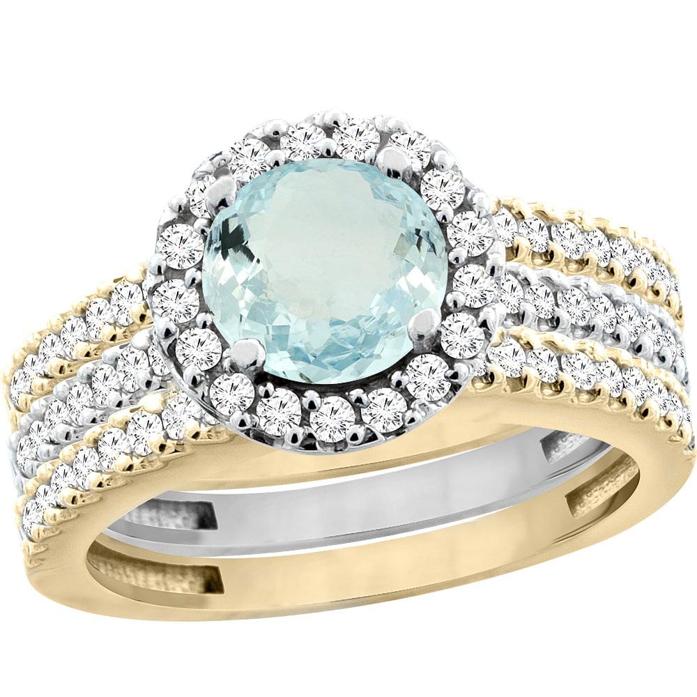 10K Gold Natural Aquamarine 3-Piece Ring Set Two-tone Round 6mm Halo Diamond, size 6.5 by Gabriella Gold
