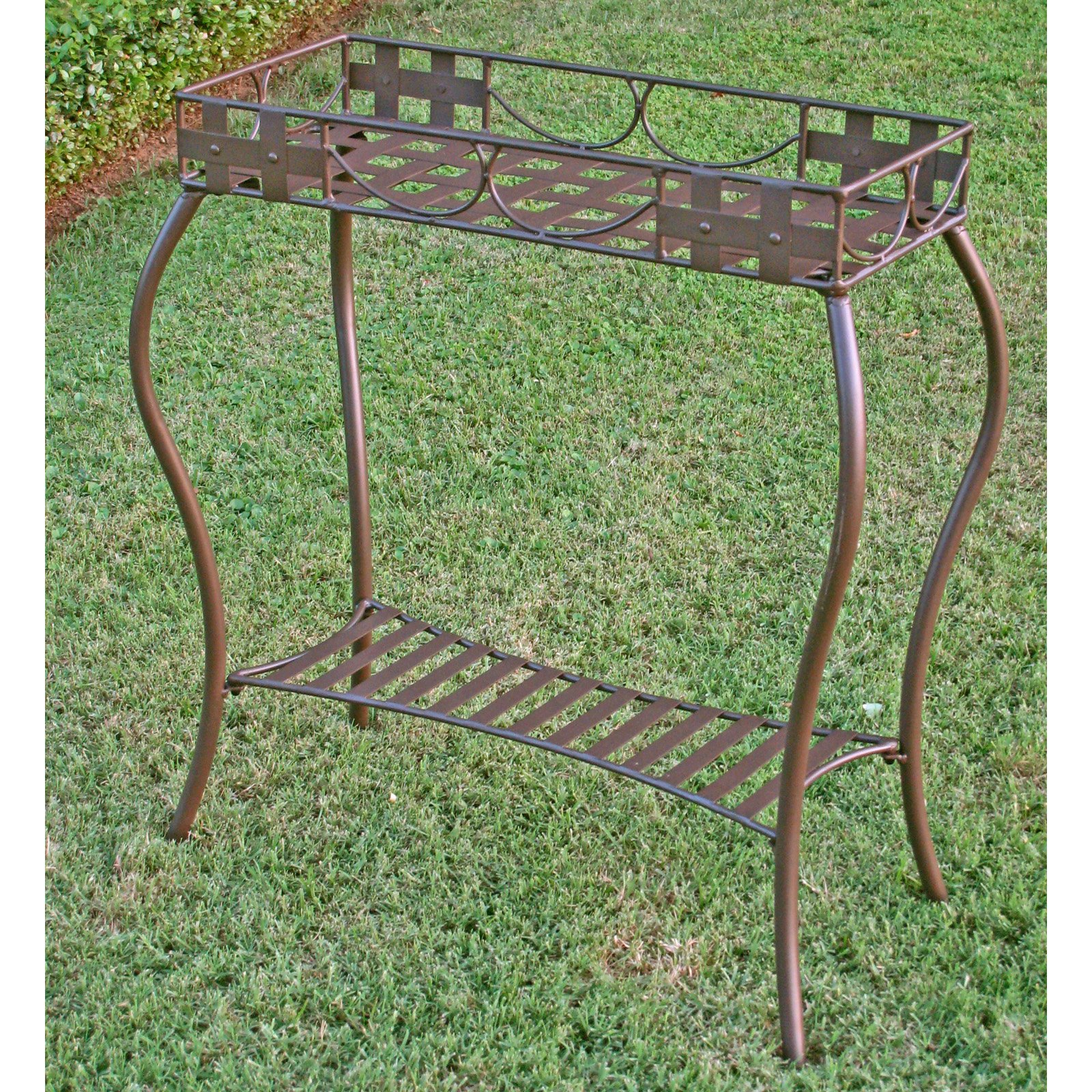 International Caravan Santa Fe Iron Metal Rectangular Plant Stand
