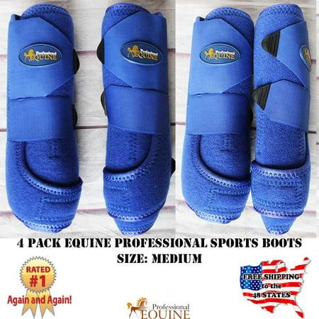 M Professional Equine Sports Medicine Splint Boots Bell Boots Blue 4 Pack (Sports Medicine Combo Boot)