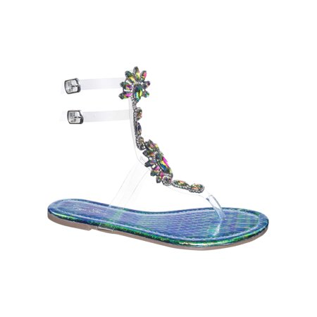 Marlo9 by Vigo Fiore, Lucite Clear Transparent Iridescent Flat Sandal w Rhinestone Crystal