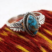 925 Sterling Silver Marquise Cut Retro Crack Turquoise Leaf Ring