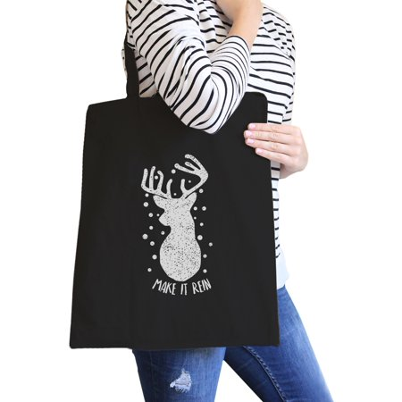 Make It Rein Reindeer Tote Bag Heavy Cotton Cute Gifts For - Cute Gift Bags